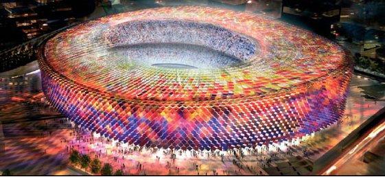 3d del estadio del nou camp diseñado por norman foster