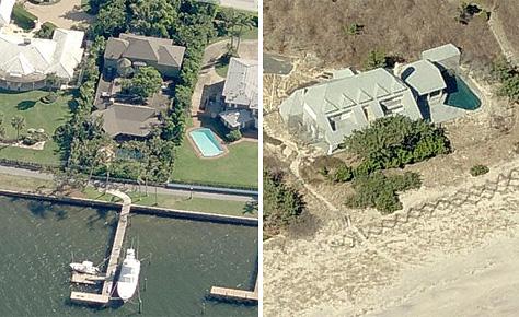 a la izquierda, casa de madoff en Florida y a la derecha, otra en Long Island (fuente: cityfile.com)