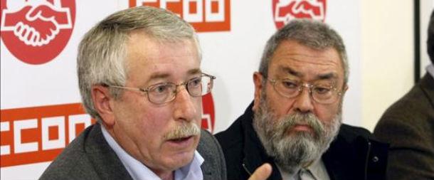 los secretarios generales sindicales Ignacio Fernández Toxo (CC.OO) y Cándido Méndez (UGT)