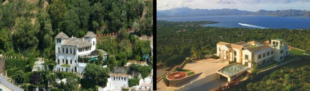 a la izquierda, villa en granada y a la derecha, casa en mallorca