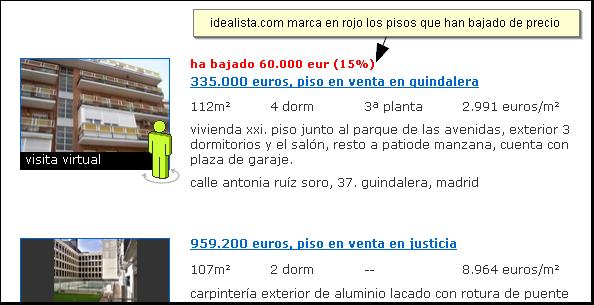 idealista.com marca en rojo los pisos que bajan de precio