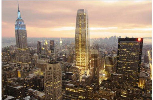 panorámica del futuro edificio de oficinas y del empire state