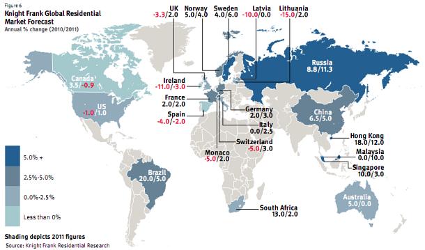 variación de precios de la vivienda prevista por knight frank para 2010/2011