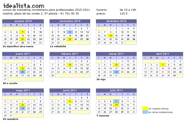 Cursos de marketing inmobiliario en idealista.com: Calendario anual