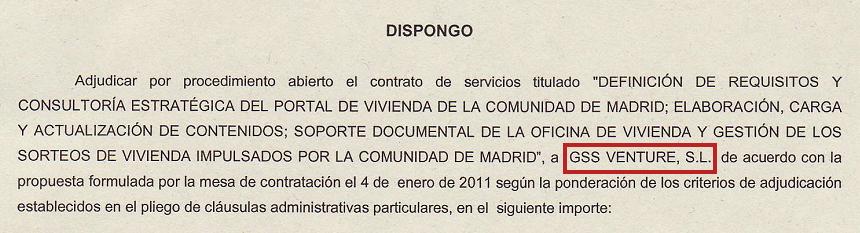 uno de los documentos que otorgan a gss venture la licitación