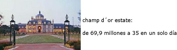 """fachada principal del majestuoso chateu """"champ d´or estate"""""""