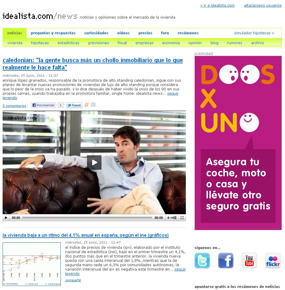 captura de pantalla de parte de la nueva portada de idealista news