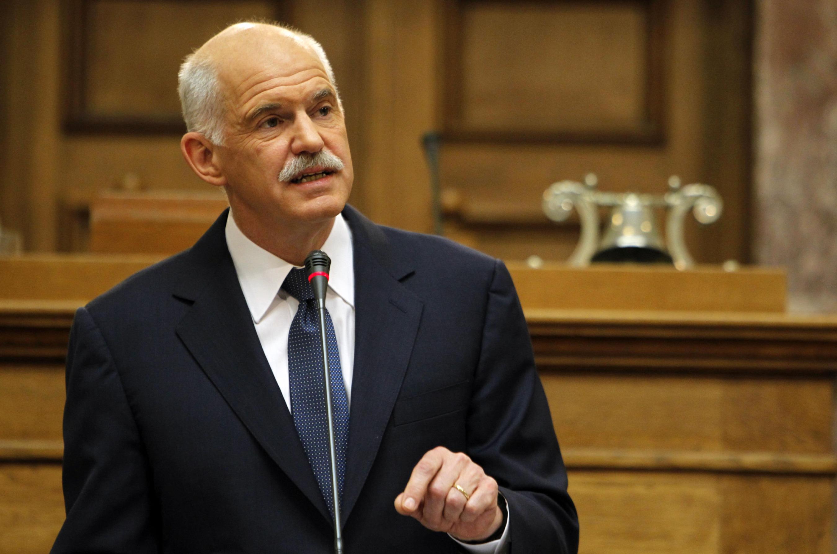 el primer ministro griego, George Papandreou, ante el congreso