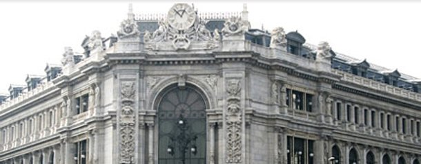 fachada del banco de españa en plaza de cibeles (madrid)