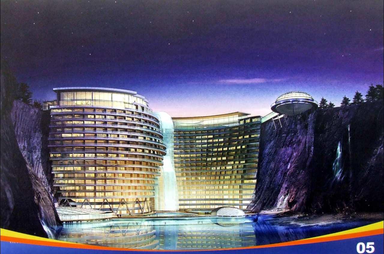 La antigua fosa de una cantera albergará un nuevo hotel de lujo en China (fotos)