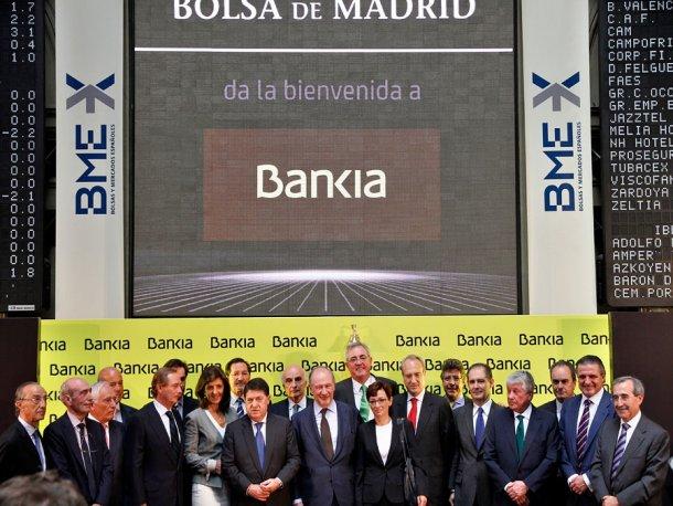 foto de familia de la salida a bolsa de bankia