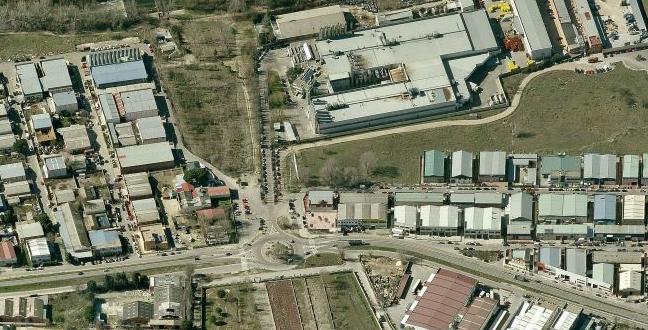 imagen aérea de un polígono de madrid