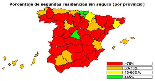 mapa de viviendas sin seguro (en rojo, las viviendas con menos seguros)