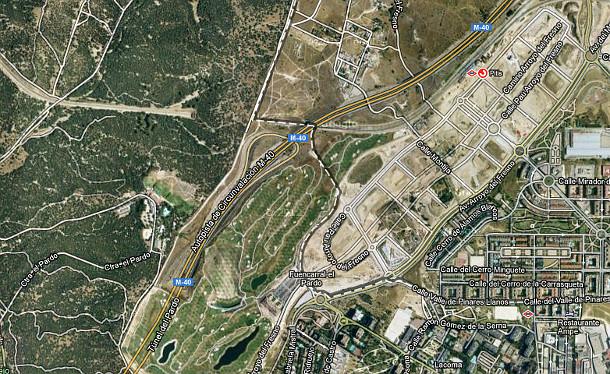 imagen aérea de la zona del pau de arroyofresno y de el pardo