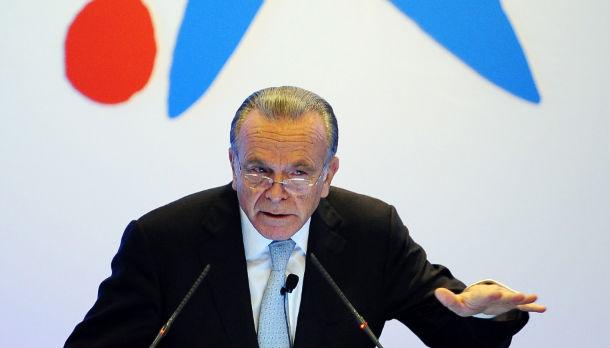 Isidre Fainé, presidente de La Caixa y CaixaBank durante la presentación de resultados 2011
