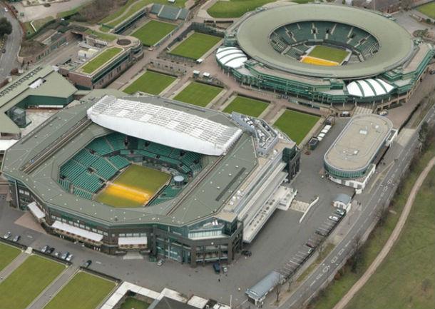imagen aérea de las pistas de tenis de wimbledon