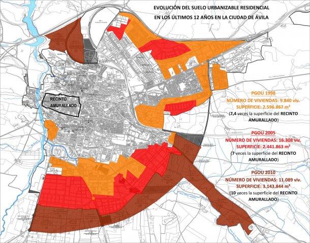 plano del suelo residencial de ávila según el pgou 2010