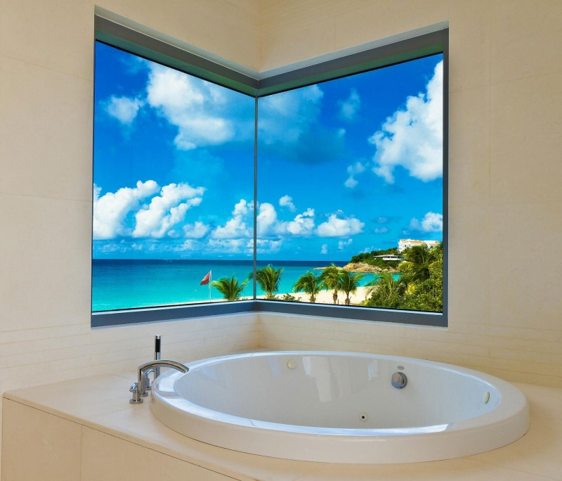 Casas de ensue o una mansi n a pie de playa en el caribe for Sunset bathroom designs