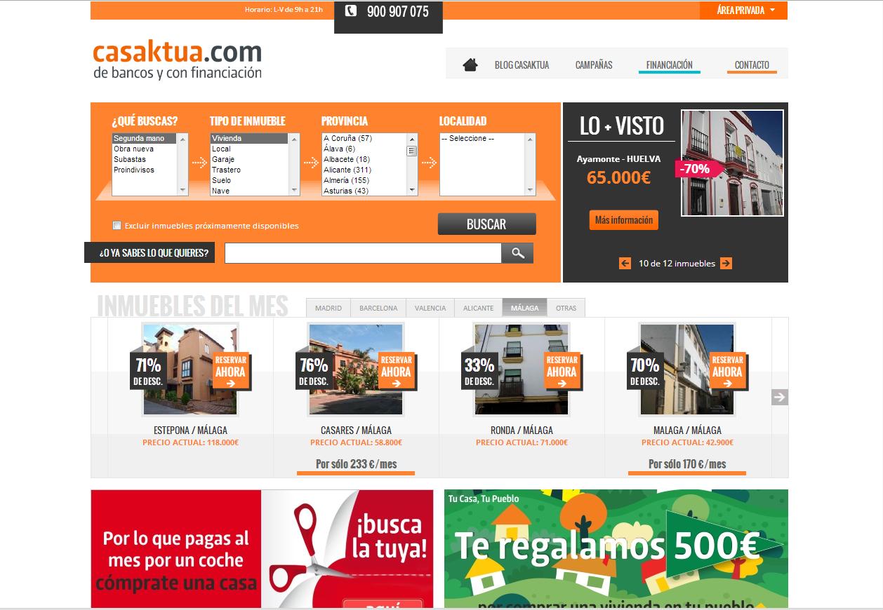 casaktua ha lanzado una oferta especial en casi 600 viviendas con un precio medio de 55.000 euros
