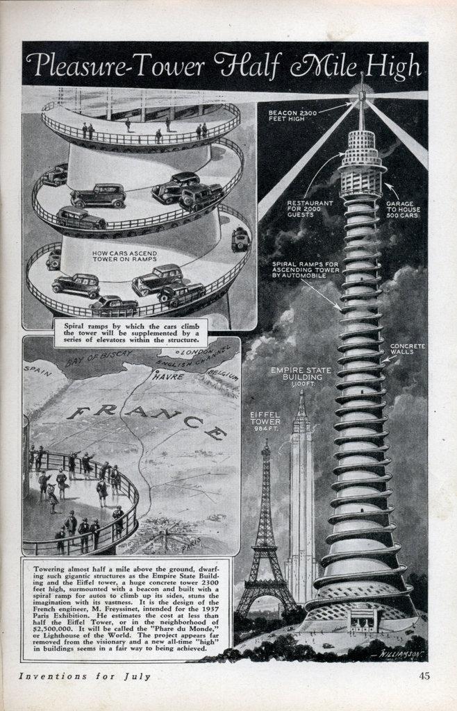 eugene freyssinet diseñó la que iba a ser la torre más alta del planeta con 701 metros, el 'phare du monde'