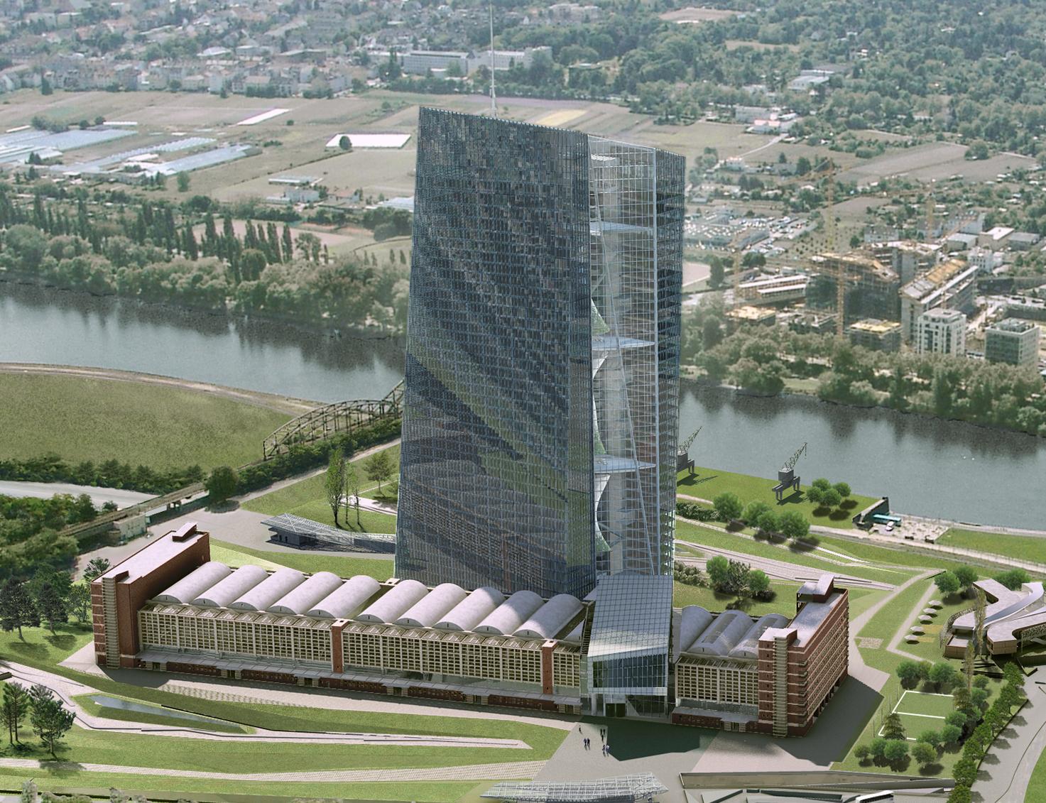 la nueva sede del bce, un rascacielos de 185 metros de altura y 45 plantas, costará en torno a 1.150 millones de euros