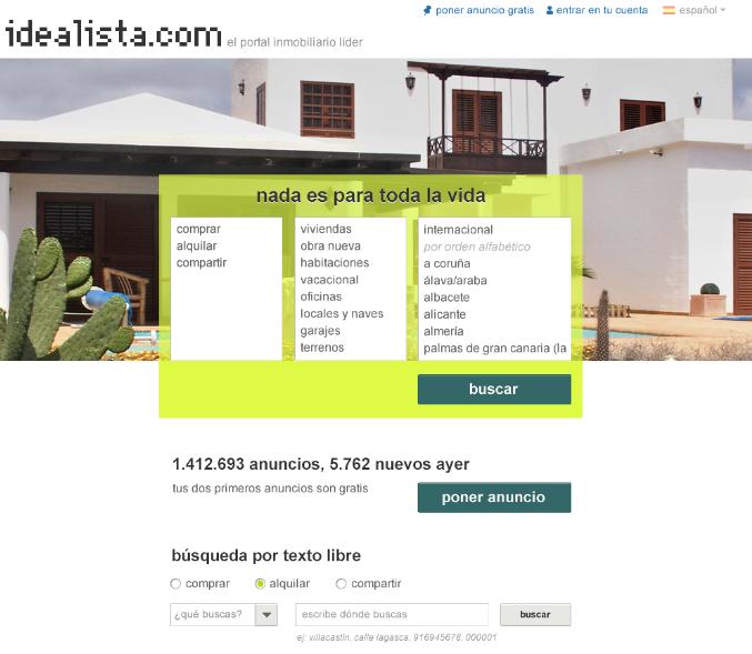 idealista: nueva home