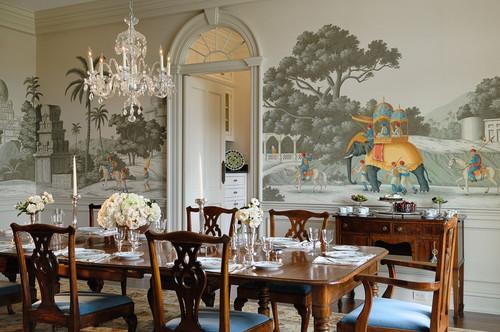 salón decorado con papel pintado