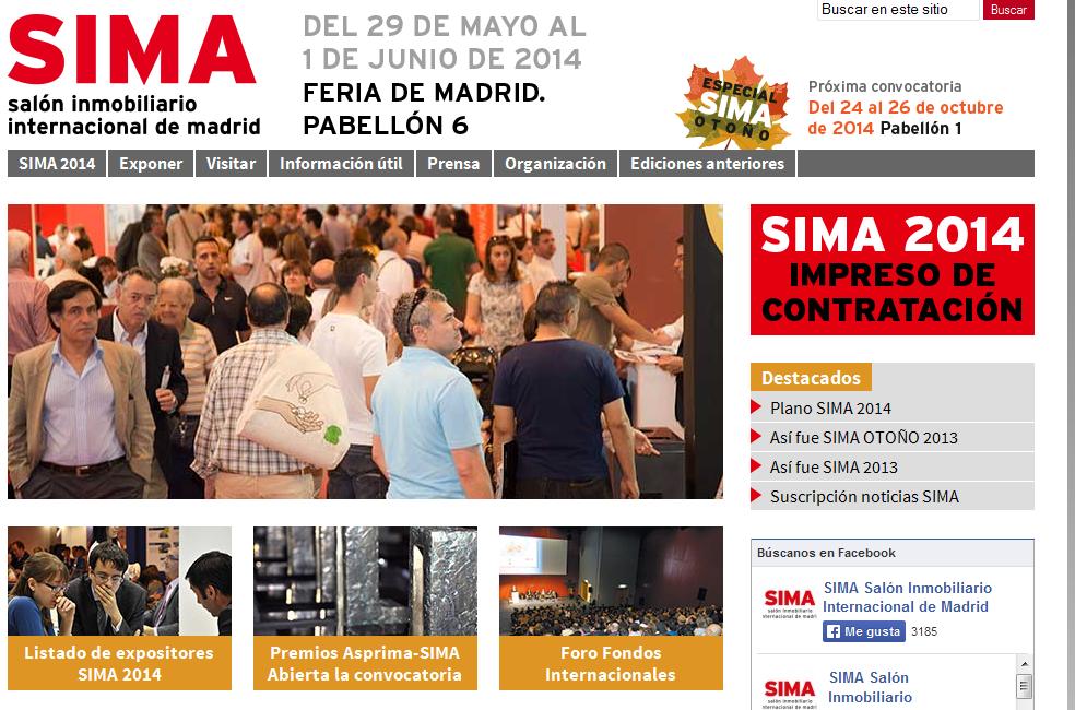 web de la nueva edición de sima 2014