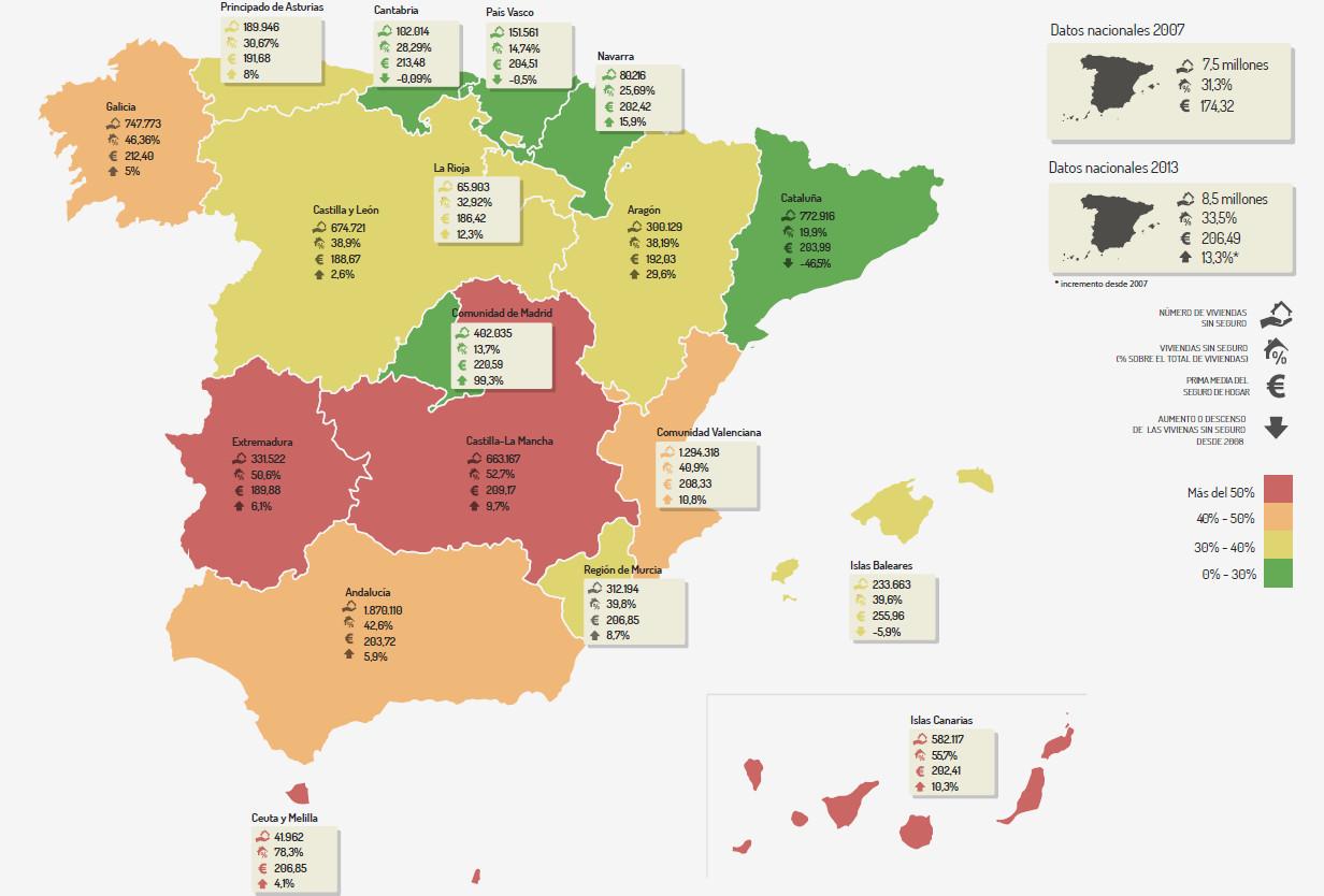 mapa de los hogares sin seguro en españa. foto: kelisto.es