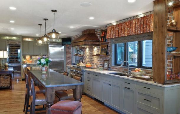 paredes de ladrillo en la cocina. fuente: houzz