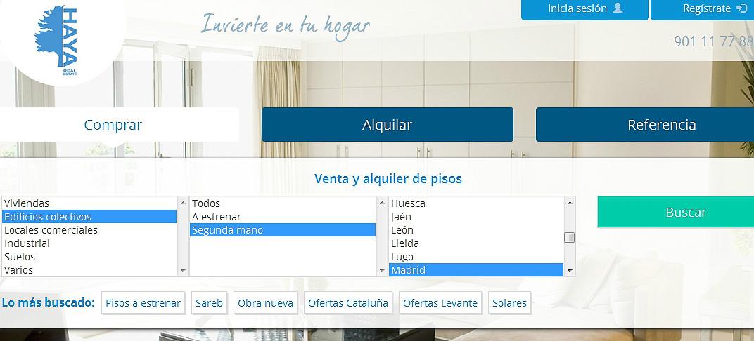 Haya real estate lanza su web de pisos y se despide de la for Pisos de bancos bankia