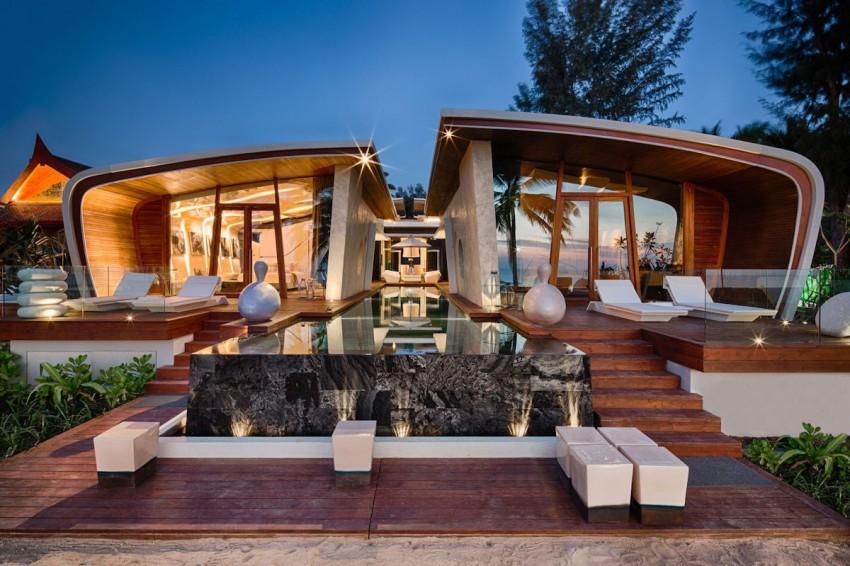 vista exterior de una villa diseñada por A-Cero