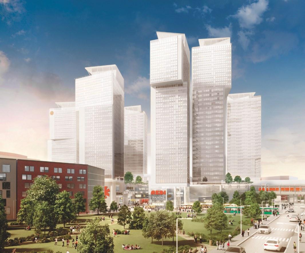 El futuro centro comercial y complejo residencial en Helsinki