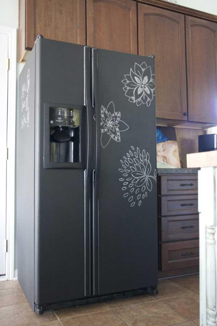 ahora un frigorfico cubierto con pintura de pizarra sirve adems de para guardar comida apuntar la lista de la compra o dejar notas al resto de