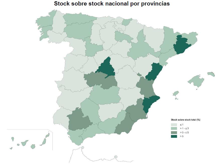 Mapa del stock de vivienda sobre el total