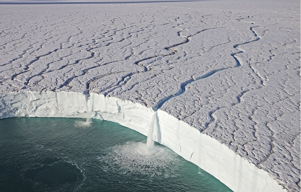 Glaciar en archipiélago Svalbard (océano Glaciar Ártico, Noruega)