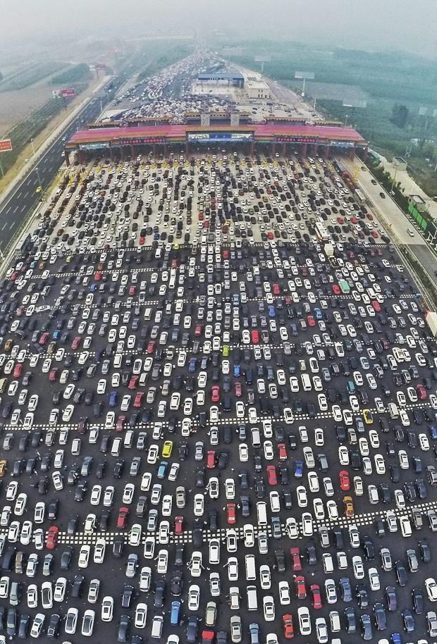 una imagen increíble del tráfico en China
