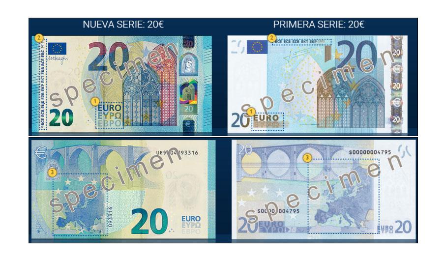 Diferencias entre el nuevo billete de 20 € y el antiguo