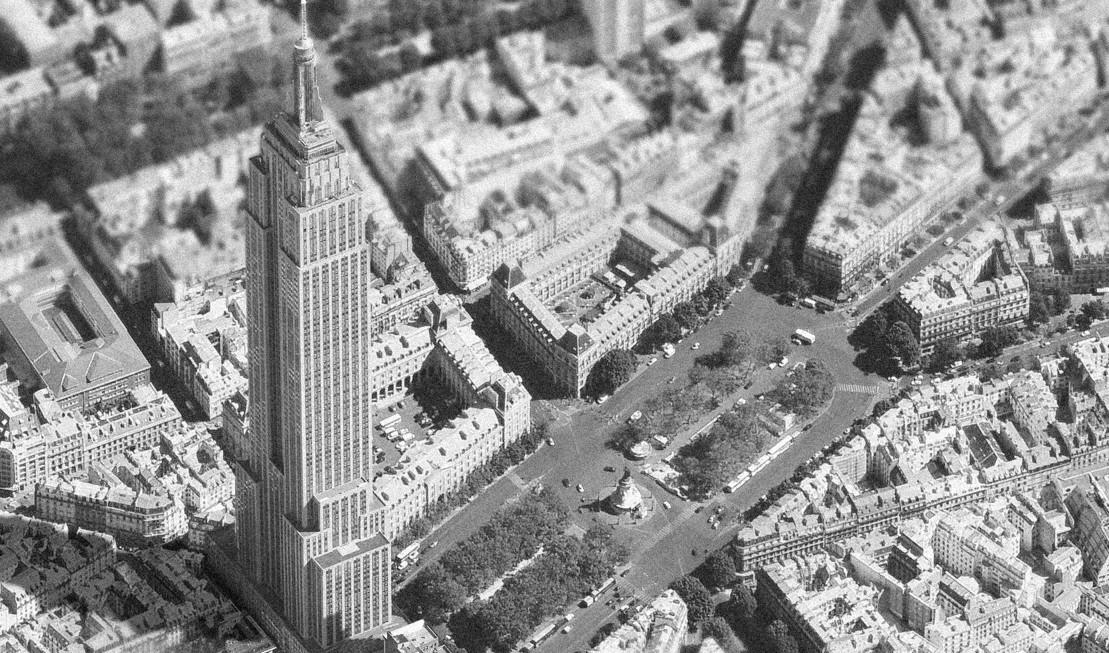 arquitectura de Nueva York y París mezclada