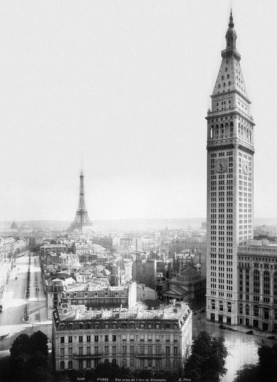 un espectacular montaje de la arquitectura de Nueva York y París