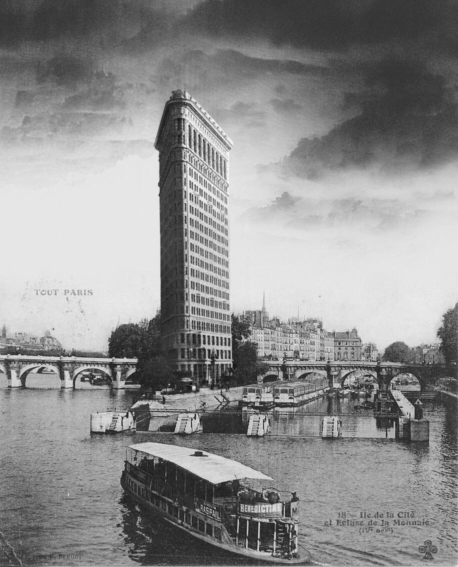 cómo sería el edificio Flatiron a orillas del Sena