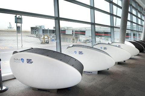 Sillones de diseño para dormir en el aeropuerto