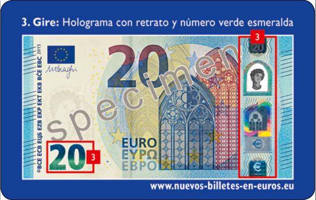 Detalle del nuevo billete de 20 euros