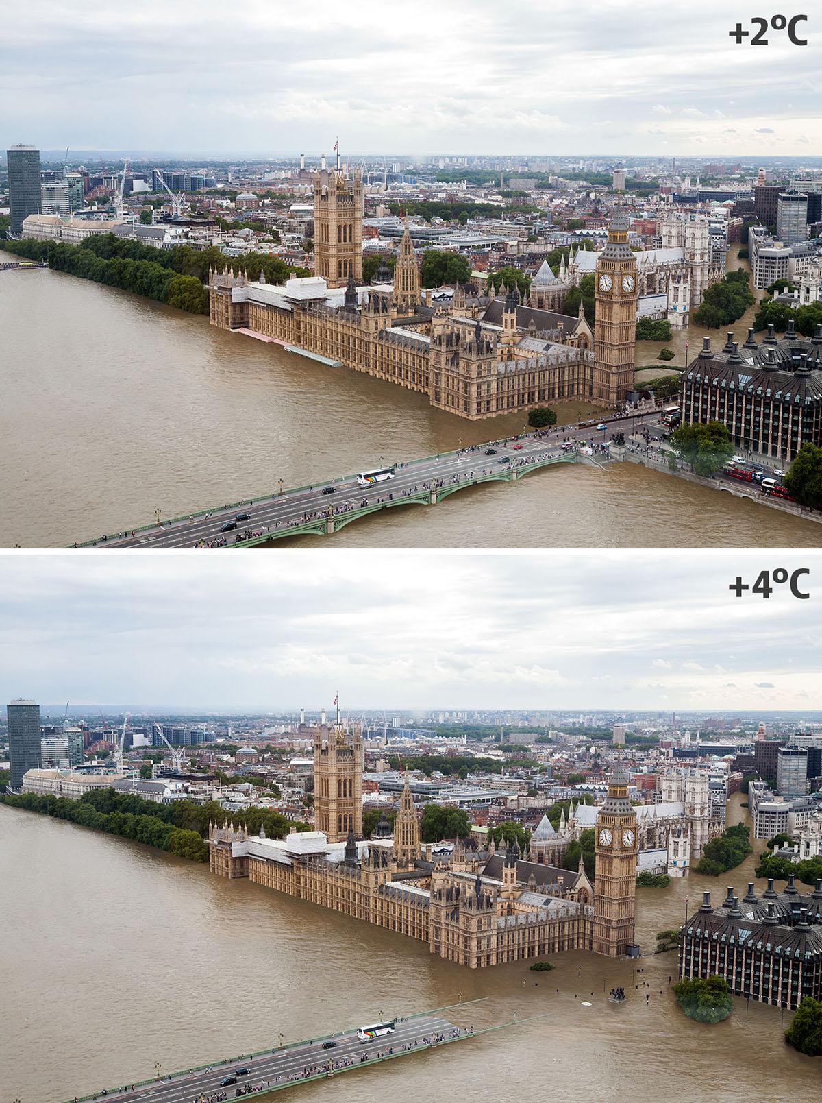 Londres sumergida por el agua