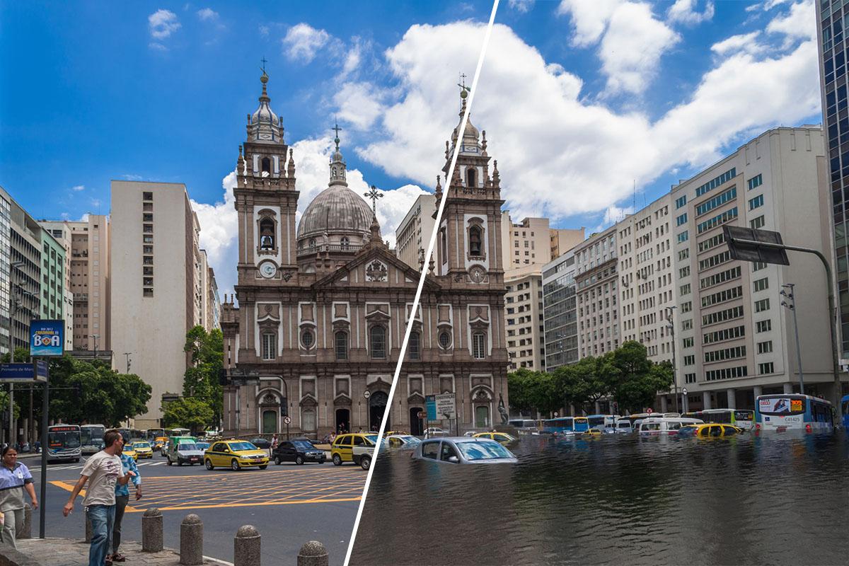 cómo las aguas sumergirían algunas de las grandes ciudades