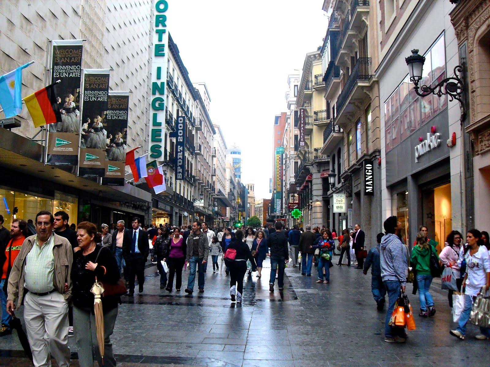 Tiendas en la calle Preciados de Madrid