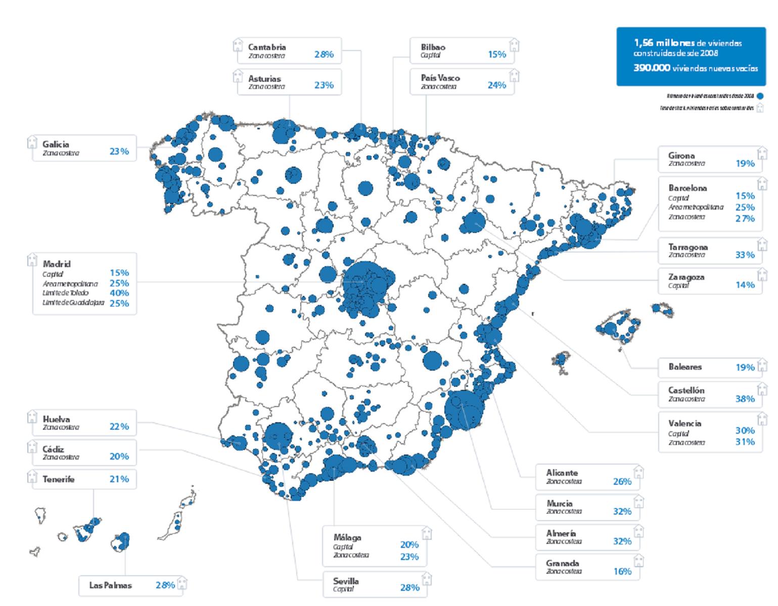 Dónde se encuentran las viviendas nuevas vacías en España