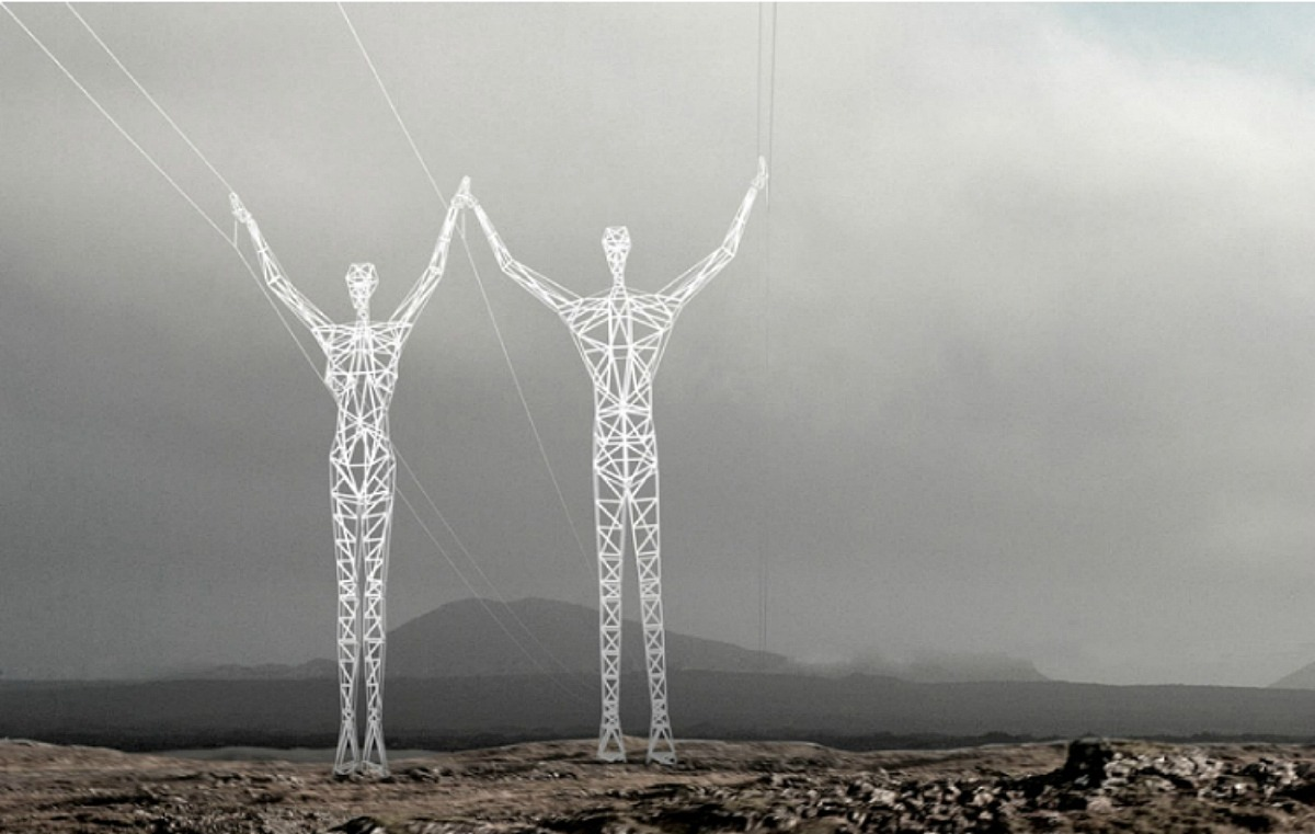 torres de alta tensión que representan a hombres