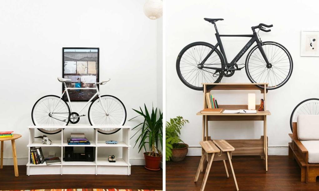 Ideas de decoraci n ciclista urbano muebles de dise o - Guardar bicicletas en poco espacio ...