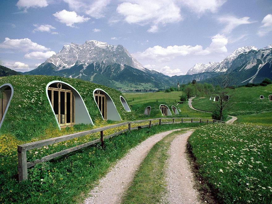 Viviendas ecológicas inspiradas en las casas de los Hobbits